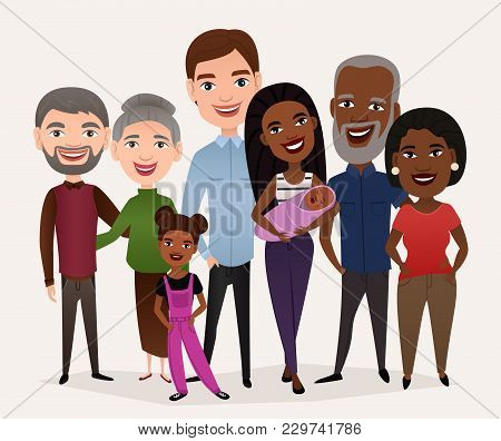 Big Happy Family Isolated Illustration. Mother, Father, Grandparents, Children, Brother, Sister, Chi