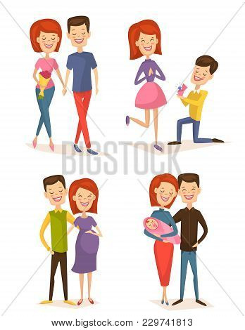 Happy Young Family Couple Set Isolated Illustration. Smiling Boyfriend And Girlfriend Being Happy, B