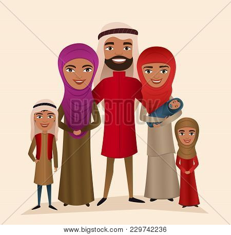 Happy Arab Family With Children Isolated Illustration. Husband, Wife, Daughter, Son And Baby In Nati