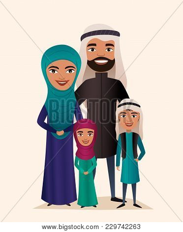 Happy Arab Family Couple With Children Isolated Illustration. Husband, Wife, Daughter And Son In Nat