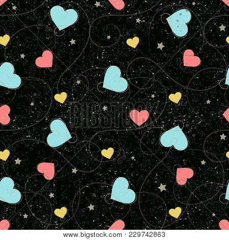 Heart Seamless Background. Gold, Blue And White Heart. Abstract Childish Star Pattern For Bridal Car