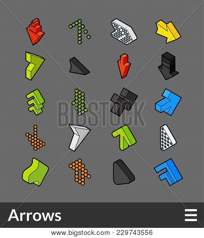 Isometric Outline Color Icons, 3d Pictograms Vector Set - Arrows Symbol Collection