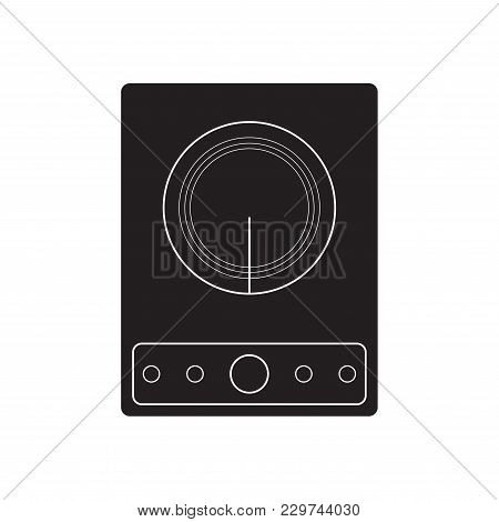 Induction Cooker Icon Vector Illustration. Flat Sign Isolated On White Background.