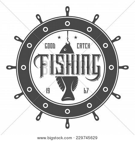 Great Fishing Tournament Vintage Isolated Label Illustration. Good Catch Symbol. Sport Fishing Club