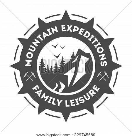 Mountain Explorer Vintage Isolated Label Illustration. Mountain Expeditions Icon. Wild Life Concept.