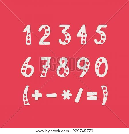 Vector Set Of Numbers And Mathematical Symbols. Objects Isolated On Red Background.