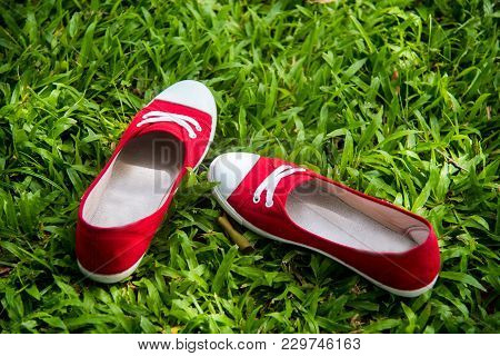 Red Sneaker, Pretty Woman Wear Jeans And A Blue Sneaker On A Green Meadow.