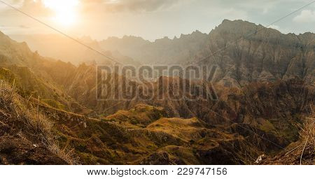 Breathtaking Sunset Over Colorful Mountain Landscape At Delgadim Viewpoint. Santo Antao Cape Verde C