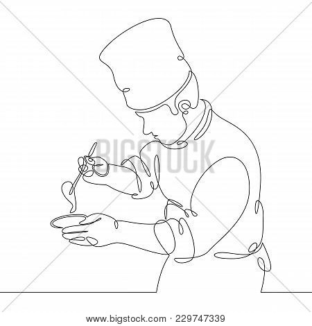 Continuous Line Drawing Of Chef Cooking Gourmet Meal, Prepping Food