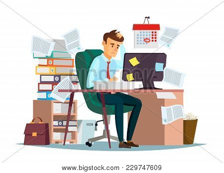 Man Overwork In Office, Deadline Vector Illustration. Manager Sitting At Computer Desk With Stack Of