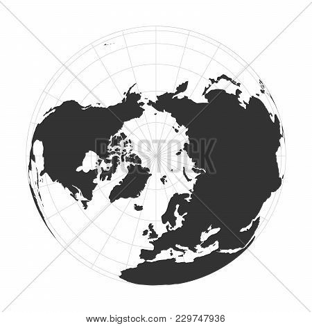 Vector Earth Globe Focused On Arctica And North Pole.