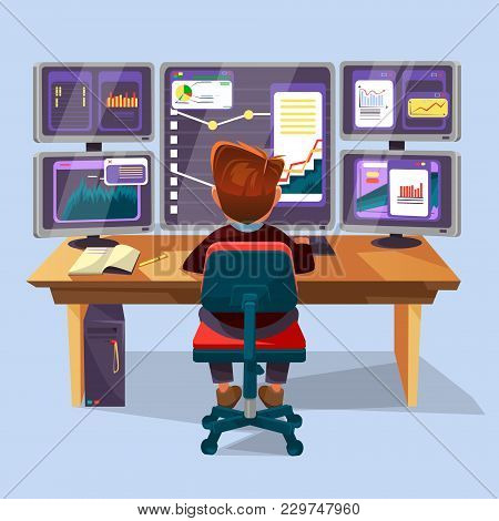 Vector Cartoon Male Trader, Financial, Data Analyst Character Sitting Monitoring Graph Diagram Chart