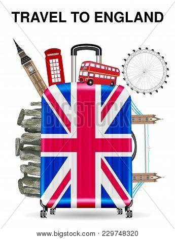 Travel Bag Open With England Landmark Inside