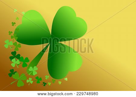 Saint Patricks Day Green Shamrock Clover On Gold Gradient Background. Vector Illustration. Use As Ba
