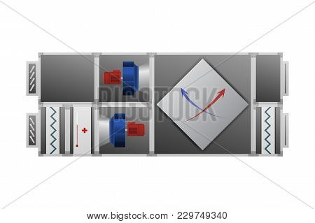 Ventilating Installation With Recuperator Vector Illustration. Air-conditioning Technical Image.