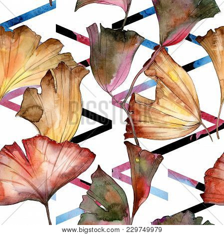 Ginkgo Leaves Pattern In A Watercolor Style. Aquarelle Leaf For Background, Texture, Wrapper Pattern