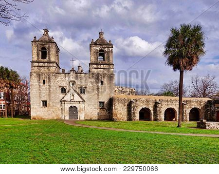 San Antonio, Usa, 2018.02.28.: The Mission Concepcion At San Antonio In The Usa.