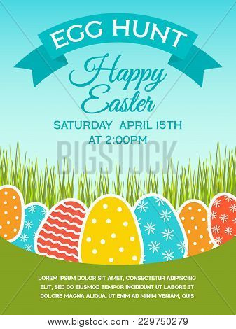 Easter Spring Holiday Card With Eggs. Background For Design Card, Banner, Ticket, Leaflet And So On.