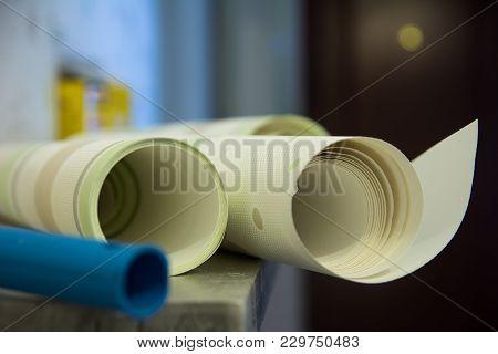 Two Rolls Of Striped Wallpaper Vinyl