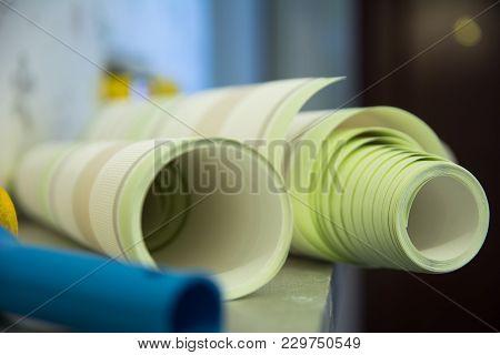 Two Rolls Of Striped Wallpaper Vinyl For Room Repair