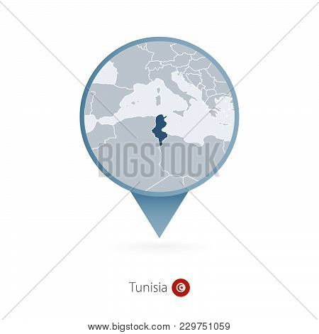 Map Pin With Detailed Map Of Tunisia And Neighboring Countries.