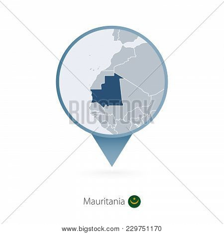 Map Pin With Detailed Map Of Mauritania And Neighboring Countries.
