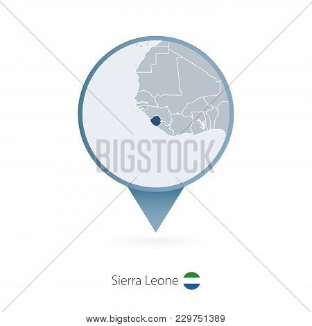 Map Pin With Detailed Map Of Sierra Leone And Neighboring Countries.