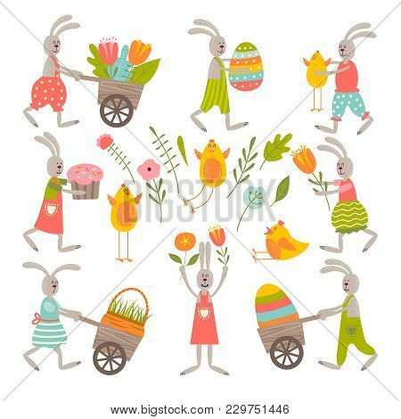 Set Of Cute Easter Cartoon Characters And Design Elements. Easter Bunny, Chickens, Eggs And Flowers.
