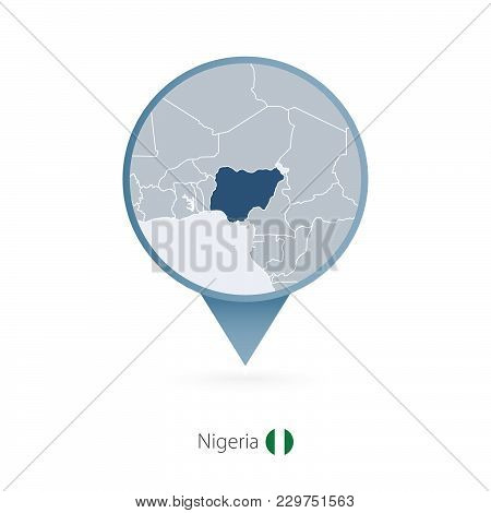 Map Pin With Detailed Map Of Nigeria And Neighboring Countries.