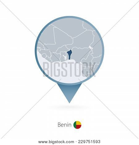 Map Pin With Detailed Map Of Benin And Neighboring Countries.