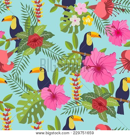 Seamless Pattern With Toucan, Tropical Leaves And Flowers On Background