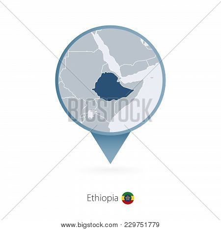 Map Pin With Detailed Map Of Ethiopia And Neighboring Countries.