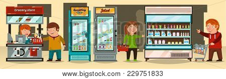 Vector Illustration, Buyers Make A Purchase At The Supermarket. The Cashier, Supermarket Shelf Produ
