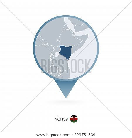 Map Pin With Detailed Map Of Kenya And Neighboring Countries.