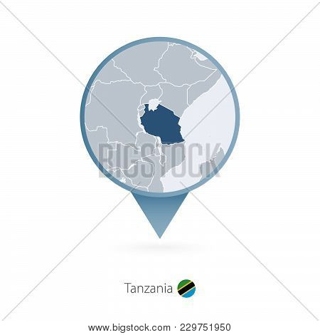 Map Pin With Detailed Map Of Tanzania And Neighboring Countries.