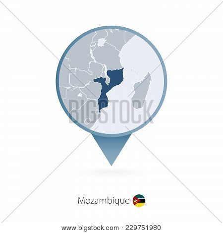 Map Pin With Detailed Map Of Mozambique And Neighboring Countries.