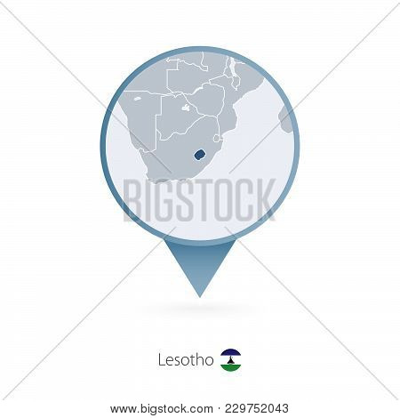 Map Pin With Detailed Map Of Lesotho And Neighboring Countries.