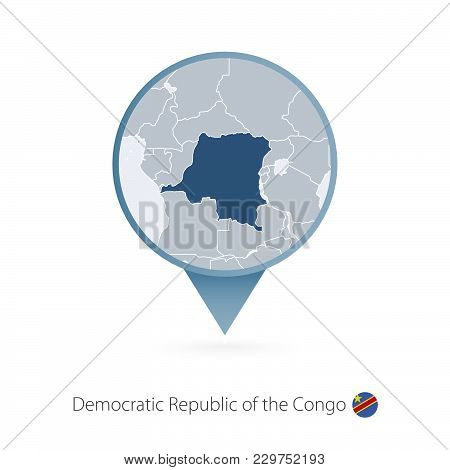 Map Pin With Detailed Map Of Democratic Republic Of The Congo And Neighboring Countries.