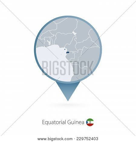 Map Pin With Detailed Map Of Equatorial Guinea And Neighboring Countries.
