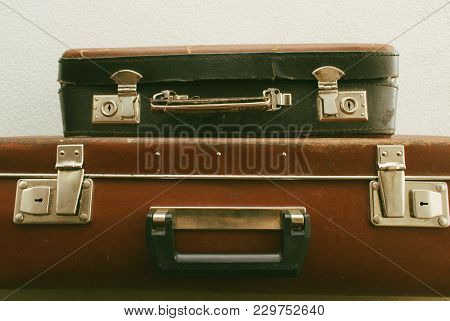 Vintage Leather Travel Valises Or Old Suitcase For Voyage