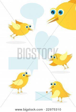 Speech bubble with cute bird