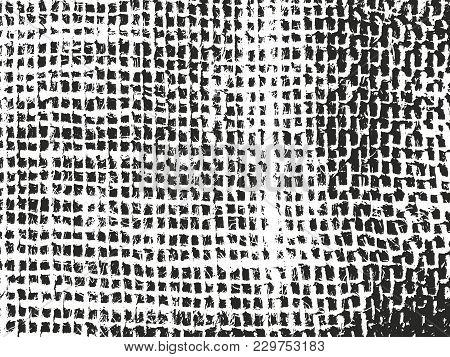 Distressed Overlay Texture Of Weaving Fabric. Grunge Background. Abstract Halftone Vector Illustrati