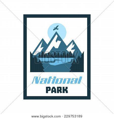 Logo, Card, Emblem, Sticker National Park. Winter Landscape, Mountains, Forest. Vector Illustration,
