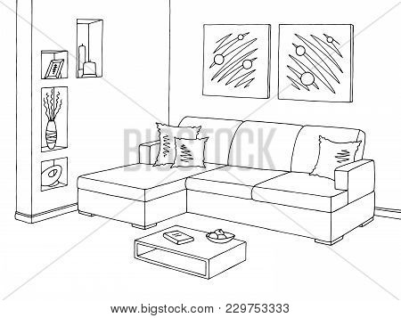 Living Room Graphic Black White Sofa Interior Sketch Illustration Vector
