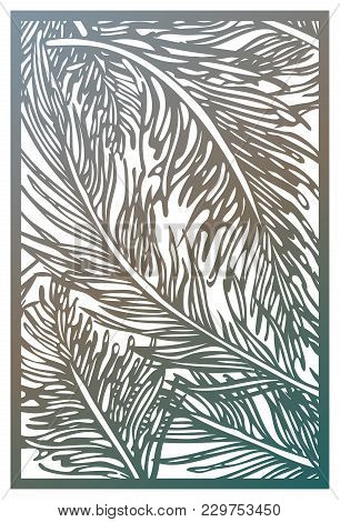 Vector Laser Cut Panel. Abstract Pattern With Feathers Template For Decorative Panel. Wall Vinyl Art