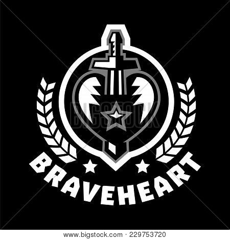 Logo Brave Heart. The Sword Piercing The Heart, Surrounded By A Wreath. Black And White Color Sticke