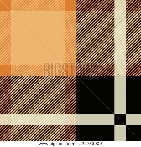Tartan Seamless Pattern Background. Black And Beige Plaid, Tartan Flannel Shirt Patterns. Trendy Til