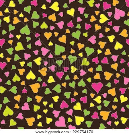 Abstract Seamless Pattern Of Bright Colored Hearts On Dark Brown Backdrop. Continuous Romantic Backg