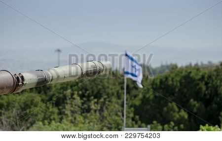 The Israeli Flag In Blue Sky At Latrun Armored Corps Museum