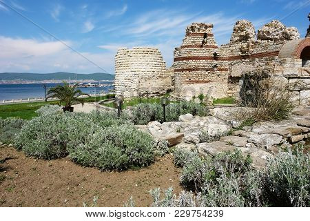 View Of The Bay And Part Of The Ancient Western Fortress Wall Of Nessebar, Which Was Part Of The For